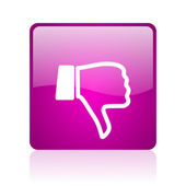 Thumb down violet square web glossy icon — Foto de Stock