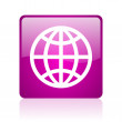 Earth violet square web glossy icon — Foto Stock