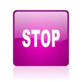 Stop violet square web glossy icon — Stock Photo