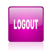 Logout violet square web glossy icon — Stock Photo