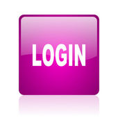 Login violet square web glossy icon — Stock Photo