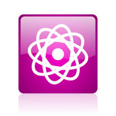 Atom violet square web glossy icon — Stock Photo