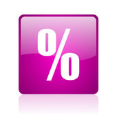 Percent violet square web glossy icon — Stockfoto