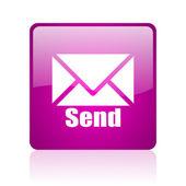 Send violet square web glossy icon — Stock Photo