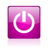 Power violet square web glossy icon — Stock Photo