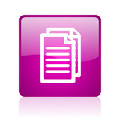 Document violet square web glossy icon — Stock Photo