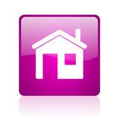 Ikona domu fiołek web kwadrat — Zdjęcie stockowe