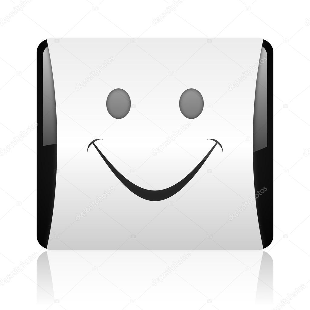 uśmiech czarno-biały kwadrat WWW błyszczący ikona ...