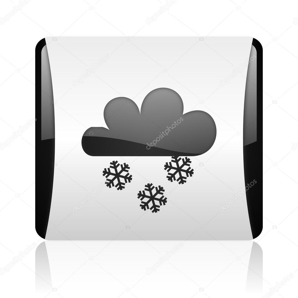天气预报黑色和白色方形 web 光泽 ico– 图库图片