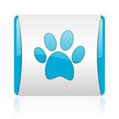 动物足迹蓝色和白色方形 web 光泽图标 — 图库照片