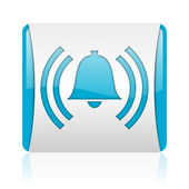 Alarm blue and white square web glossy icon — Foto Stock