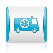 Ambulance blue and white square web glossy icon — Stock Photo