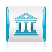 Museo azul y blanco cuadrado icono brillante web — Foto de Stock