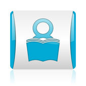 Book blue and white square web glossy icon — Foto de Stock