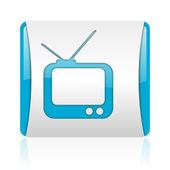 Tv azul y blanco cuadrado icono brillante web — Foto de Stock