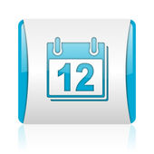 Planner blue and white square web glossy icon — Stock Photo