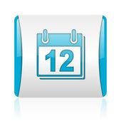 Azul de planejador e branco quadrado brilhante ícone web — Fotografia Stock