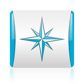 Compass blue and white square web glossy icon — Stock Photo
