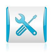 Tools blue and white square web glossy icon — Stock Photo