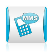 Mms blue and white square web glossy icon — Photo