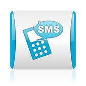 Sms blue and white square web glossy icon — Stock Photo