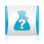 Riddle blue and white square web glossy icon — Stock Photo