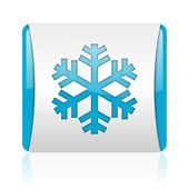 Snowflake blue and white square web glossy icon — Stock Photo