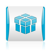 Box blue and white square web glossy icon — Stock Photo