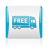 Free delivery blue and white square web glossy icon — Stock Photo