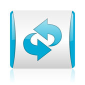 Rotate blue and white square web glossy icon — Stock Photo