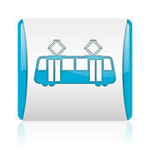 Tram blue and white square web glossy icon — Stock Photo