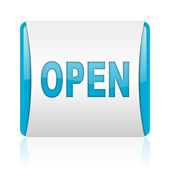 Open blue and white square web glossy icon — Stock Photo