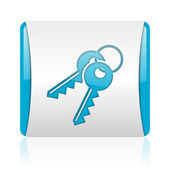 Keys blue and white square web glossy icon — Stock Photo