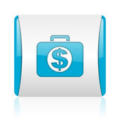 Financial blue and white square web glossy icon — Stock Photo