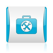 Toolkit blue and white square web glossy icon — Stock Photo