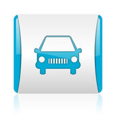 Car blue and white square web glossy icon — Stock Photo