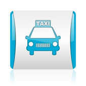 Taxi blue and white square web glossy icon — Stock Photo