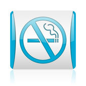No smoking blue and white square web glossy icon — Stock Photo
