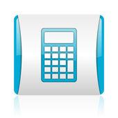 Calculator blue and white square web glossy icon — Stock Photo