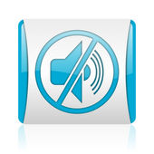Mute blue and white square web glossy icon — Stock Photo