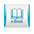 E-book blue and white square web glossy icon — Stock Photo