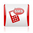 Sms red and white square web glossy icon — Stock Photo