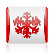 Winter sale red and white square web glossy icon - Stockfoto