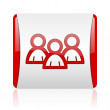 Forum red and white square web glossy icon — Stock Photo