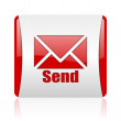 Send red and white square web glossy icon — Stock Photo
