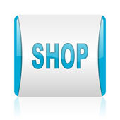 Shop blue and white square web glossy icon — Stock Photo