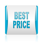 Best price blue and white square web glossy icon — Stock Photo