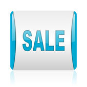 Sale blue and white square web glossy icon — Stock Photo