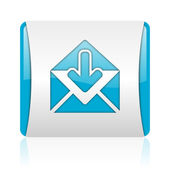 Mail blue and white square web glossy icon — Stock Photo