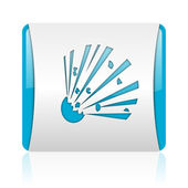 Bomb blue and white square web glossy icon — Stock Photo